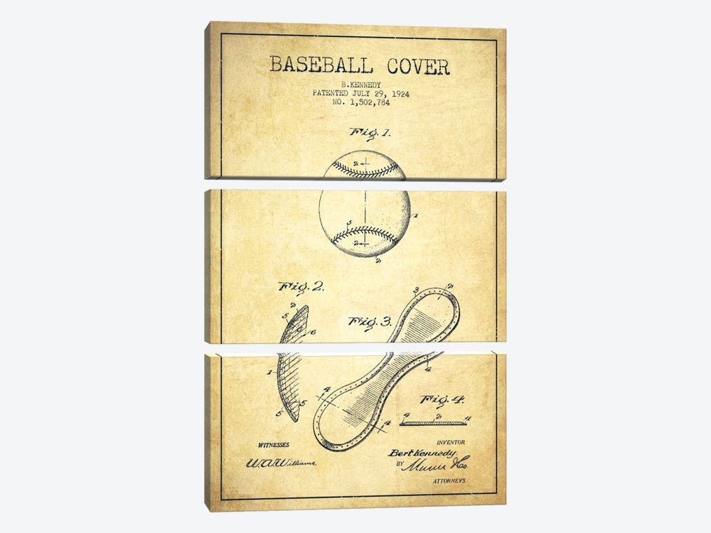Baseball Cover Vintage Patent Blueprint by Aged Pixel 3-piece Canvas Art Print