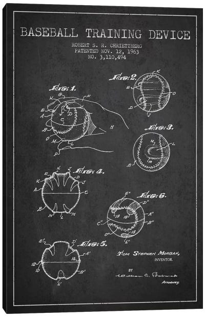 Baseball Device Charcoal Patent Blueprint Canvas Art Print