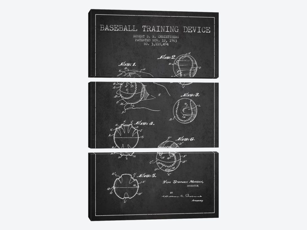 Baseball Device Charcoal Patent Blueprint by Aged Pixel 3-piece Art Print