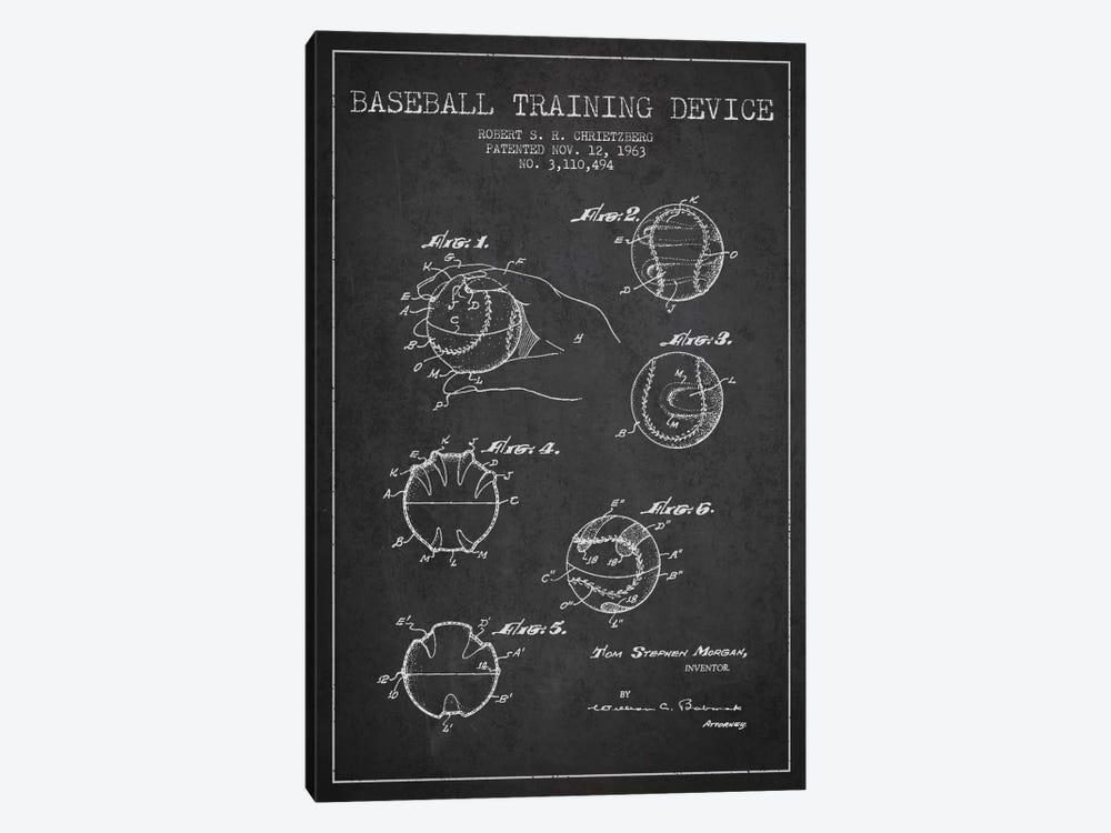 Baseball Device Charcoal Patent Blueprint by Aged Pixel 1-piece Canvas Art Print