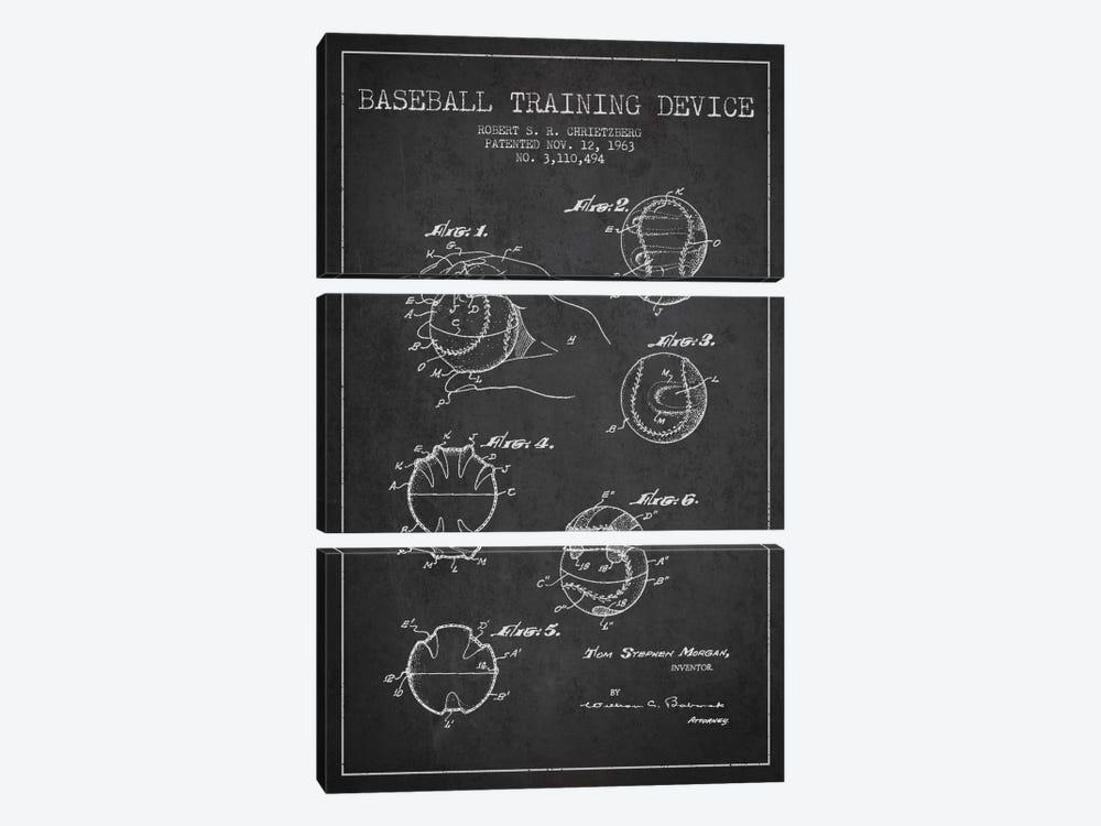 Baseball Device Charcoal Patent Blueprint by Aged Pixel 3-piece Art Print