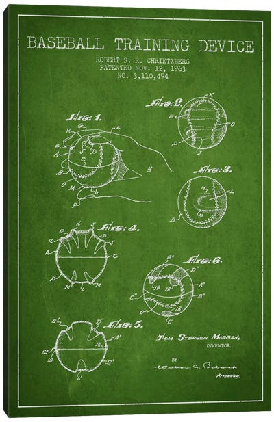 Baseball Device Green Patent Blueprint Canvas Art Print