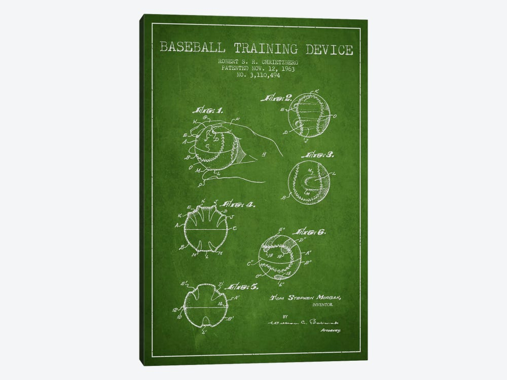Baseball Device Green Patent Blueprint 1-piece Canvas Art