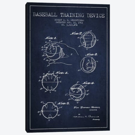 Baseball Device Navy Blue Patent Blueprint Canvas Print #ADP2052} by Aged Pixel Art Print