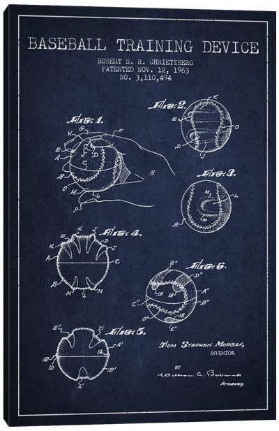 Baseball Device Navy Blue Patent Blueprint Canvas Art Print