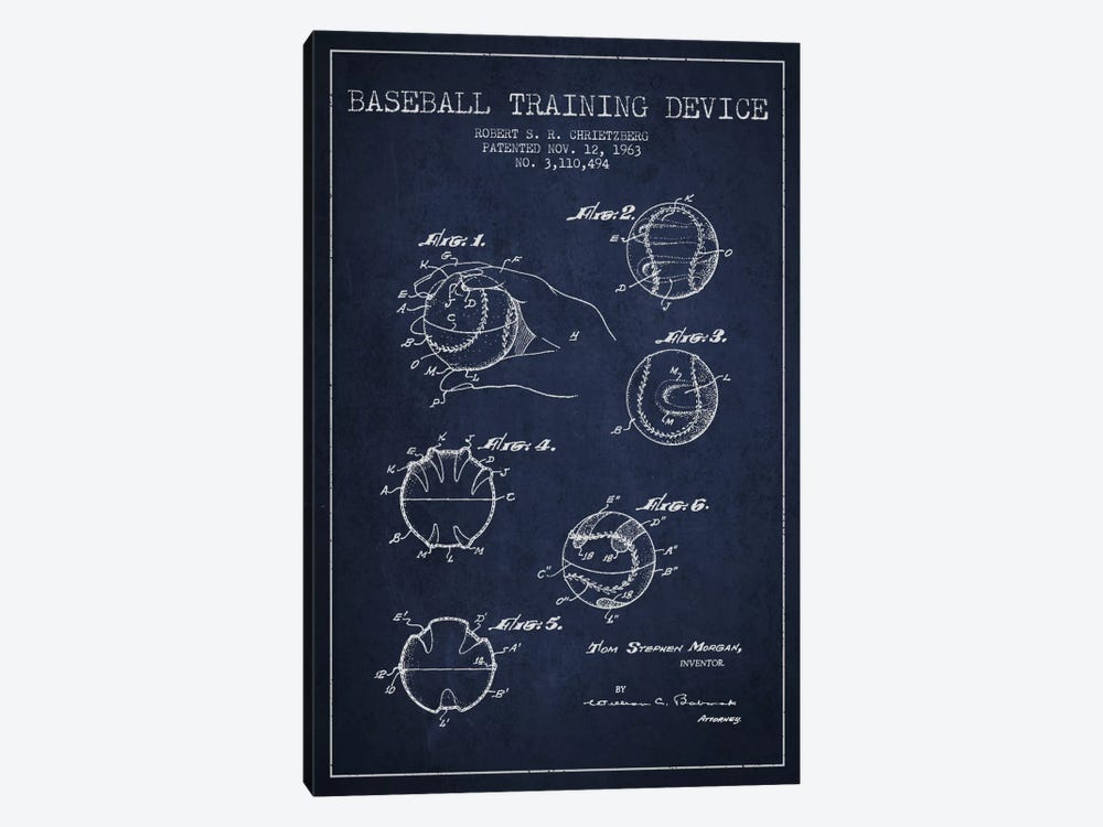Baseball Device Navy Blue Patent Blueprint by Aged Pixel 1-piece Canvas Art Print