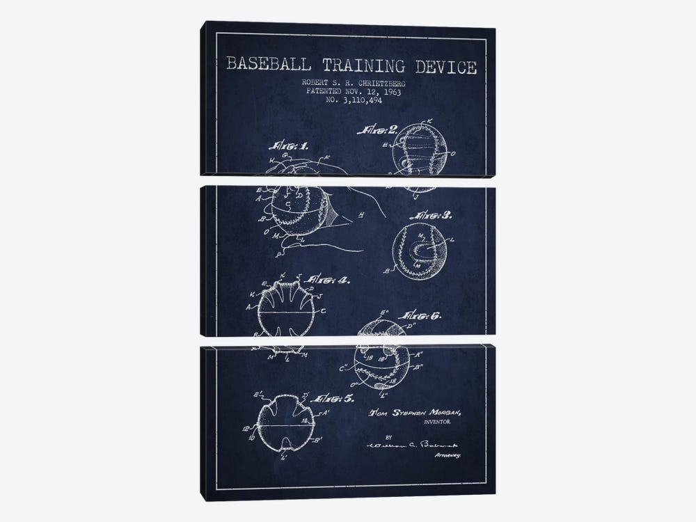 Baseball Device Navy Blue Patent Blueprint by Aged Pixel 3-piece Canvas Art Print