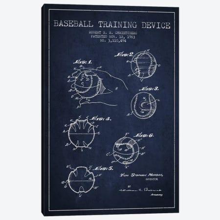 Baseball Device Navy Blue Patent Blueprint Canvas Print #ADP2052} by Aged Pixel Art Print