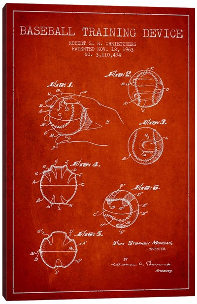 Baseball Device Red Patent Blueprint Canvas Art Print