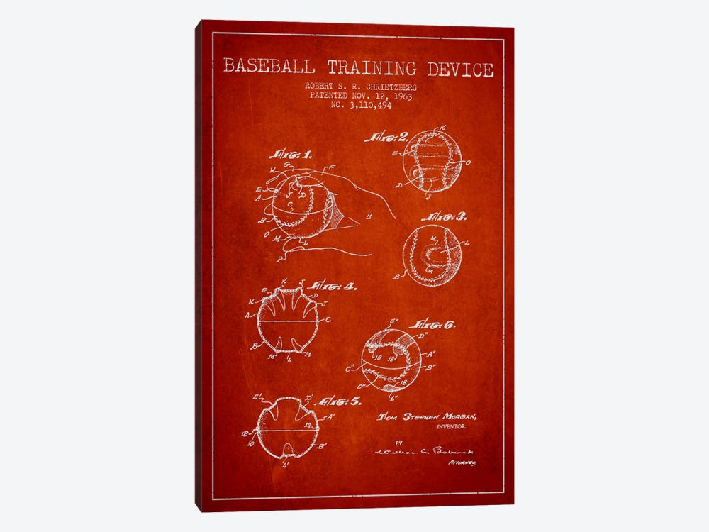Baseball Device Red Patent Blueprint by Aged Pixel 1-piece Canvas Wall Art