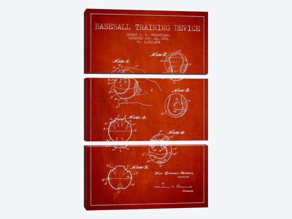 Baseball Device Red Patent Blueprint by Aged Pixel 3-piece Canvas Art