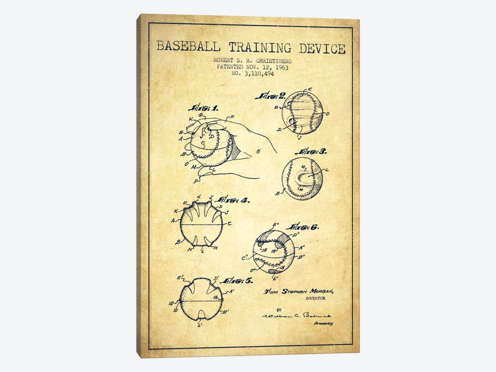 Baseball Device Vintage Patent Blueprint by Aged Pixel 1-piece Canvas Print
