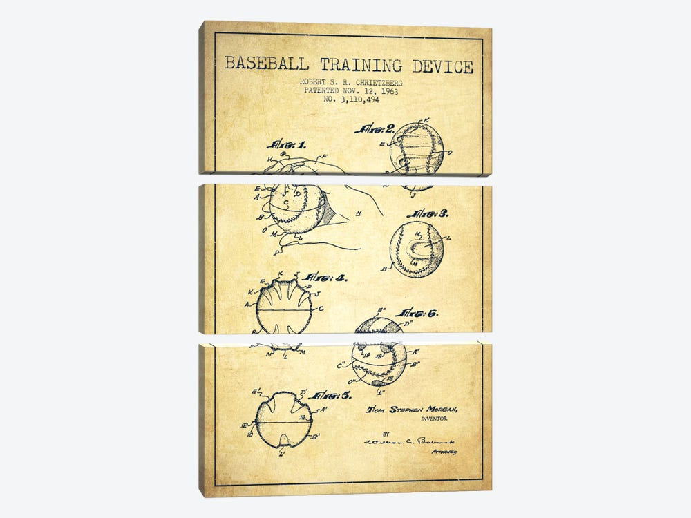Baseball Device Vintage Patent Blueprint by Aged Pixel 3-piece Canvas Print