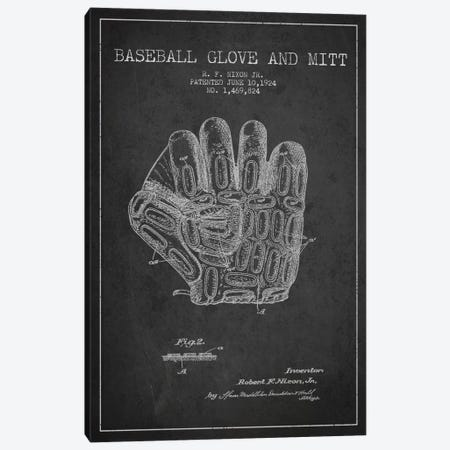 Baseball Glove Charcoal Patent Blueprint Canvas Print #ADP2055} by Aged Pixel Canvas Art