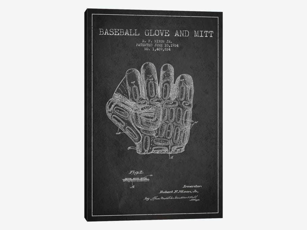 Baseball Glove Charcoal Patent Blueprint by Aged Pixel 1-piece Canvas Art