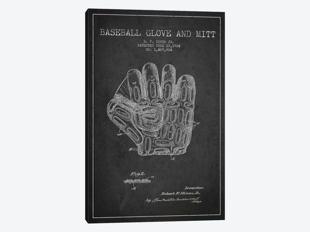 Baseball Glove Charcoal Patent Blueprint by Aged Pixel 1-piece Canvas Art