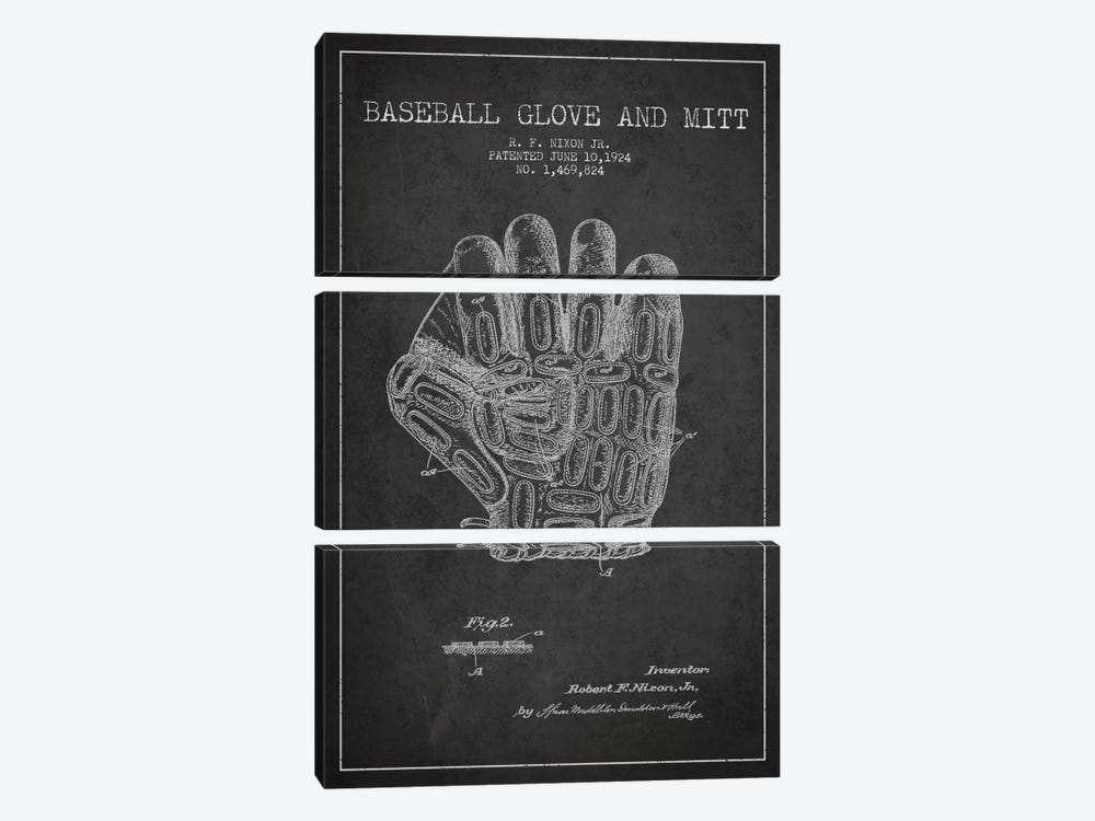 Baseball Glove Charcoal Patent Blueprint by Aged Pixel 3-piece Canvas Art