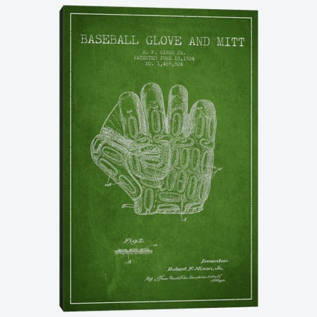 Baseball Glove Green Patent Blueprint Canvas Print #ADP2056} by Aged Pixel Canvas Art
