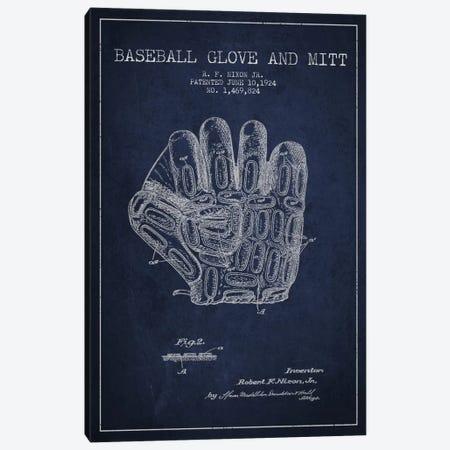 Baseball Glove Navy Blue Patent Blueprint Canvas Print #ADP2057} by Aged Pixel Canvas Art