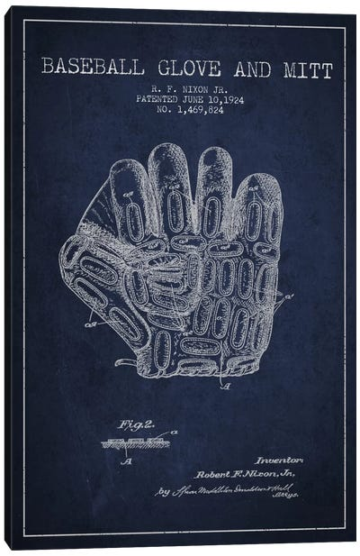 Baseball Glove Navy Blue Patent Blueprint Canvas Art Print