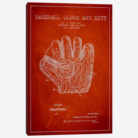 Baseball Glove Red Patent Blueprint Canvas Print #ADP2058} by Aged Pixel Art Print