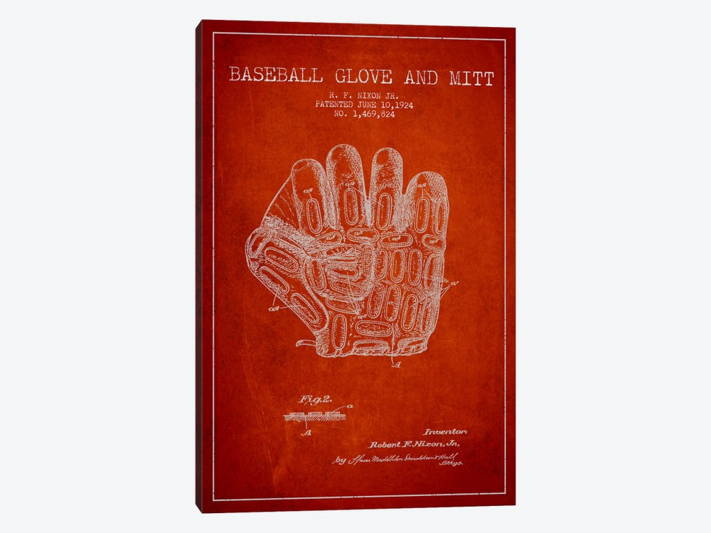 Baseball Glove Red Patent Blueprint by Aged Pixel 1-piece Art Print