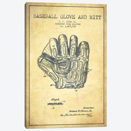 Baseball Glove Vintage Patent Blueprint Canvas Print #ADP2059} by Aged Pixel Art Print