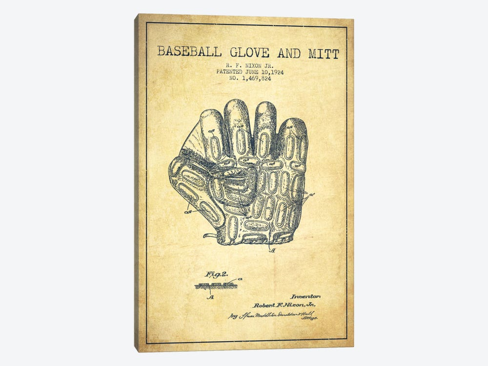 Baseball Glove Vintage Patent Blueprint by Aged Pixel 1-piece Canvas Wall Art