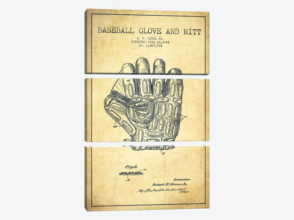 Baseball Glove Vintage Patent Blueprint by Aged Pixel 3-piece Canvas Art