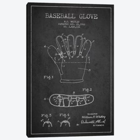 Baseball Glove Charcoal Patent Blueprint Canvas Print #ADP2060} by Aged Pixel Canvas Art
