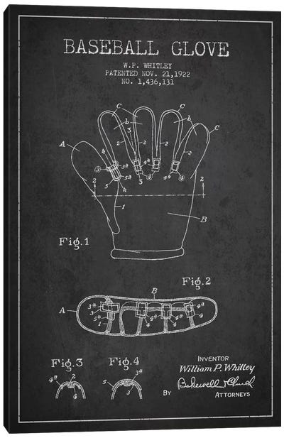 Baseball Glove Charcoal Patent Blueprint Canvas Art Print