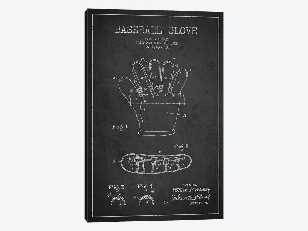 Baseball Glove Charcoal Patent Blueprint by Aged Pixel 1-piece Canvas Artwork