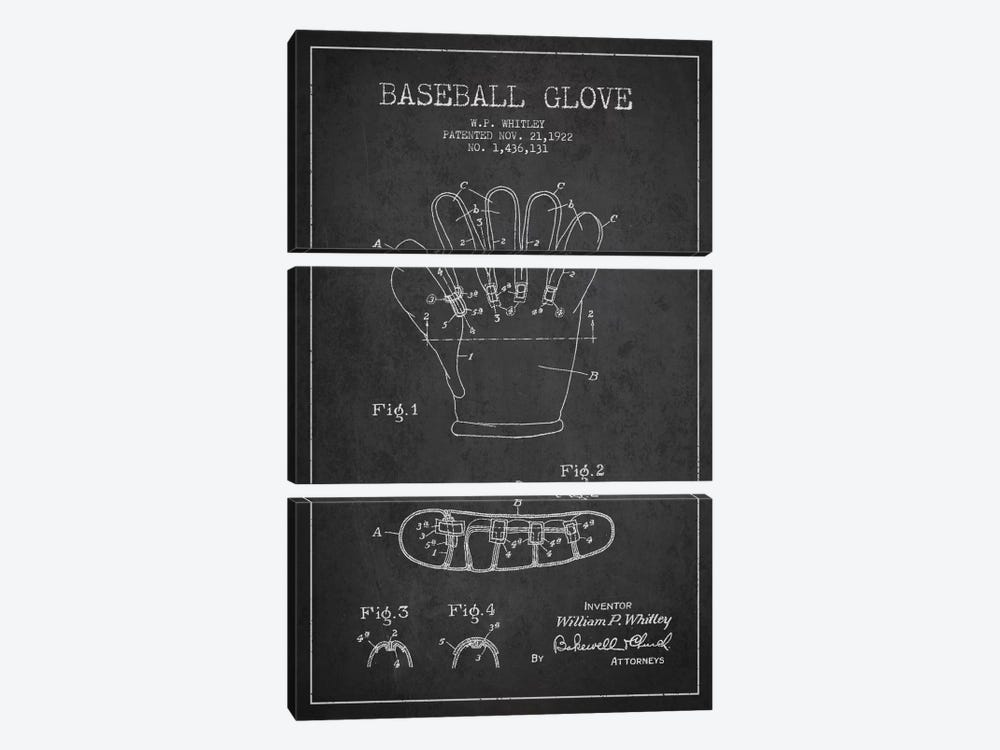 Baseball Glove Charcoal Patent Blueprint by Aged Pixel 3-piece Canvas Wall Art