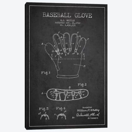 Baseball Glove Charcoal Patent Blueprint Canvas Print #ADP2060} by Aged Pixel Canvas Art