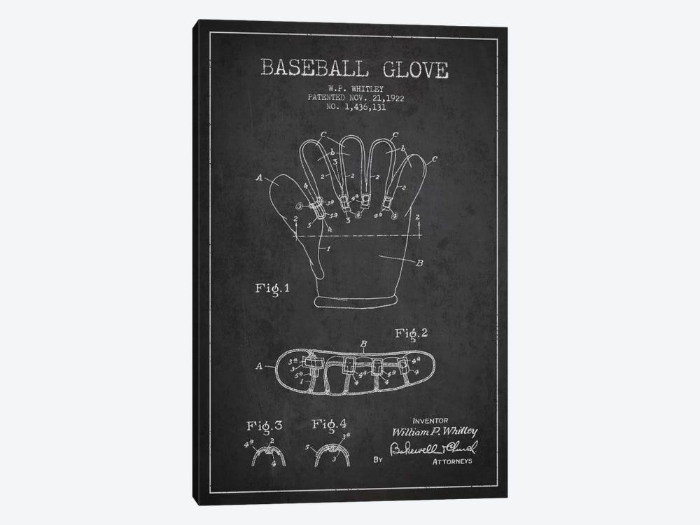 Baseball Glove Charcoal Patent Blueprint by Aged Pixel 1-piece Canvas Artwork