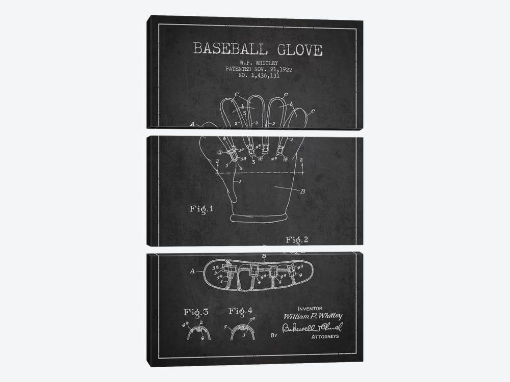 Baseball Glove Charcoal Patent Blueprint by Aged Pixel 3-piece Canvas Wall Art