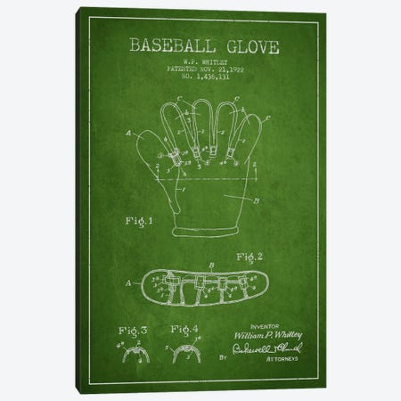 Baseball Glove Green Patent Blueprint Canvas Print #ADP2061} by Aged Pixel Canvas Art