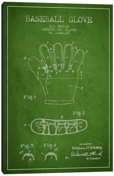Baseball Glove Green Patent Blueprint Canvas Art Print