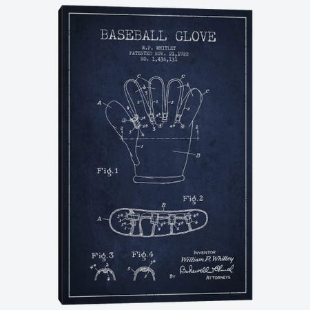 Baseball Glove Navy Blue Patent Blueprint Canvas Print #ADP2062} by Aged Pixel Canvas Artwork
