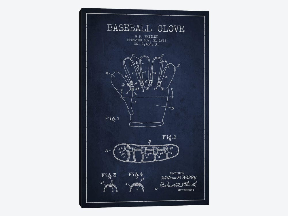 Baseball Glove Navy Blue Patent Blueprint by Aged Pixel 1-piece Canvas Wall Art