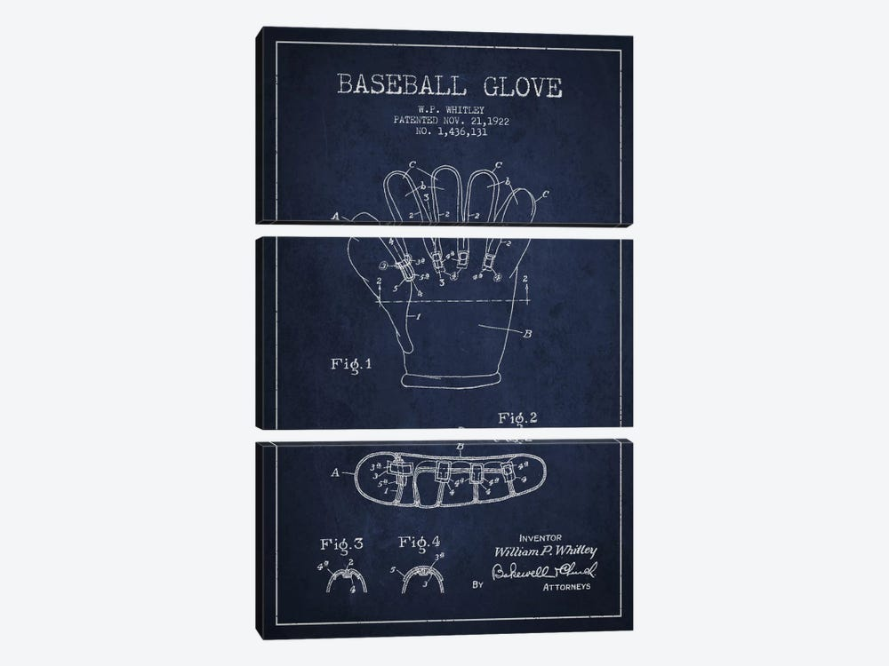 Baseball Glove Navy Blue Patent Blueprint by Aged Pixel 3-piece Canvas Artwork