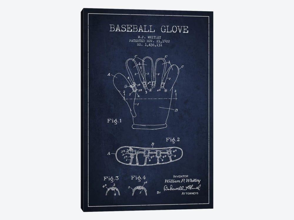 Baseball Glove Navy Blue Patent Blueprint by Aged Pixel 1-piece Canvas Wall Art