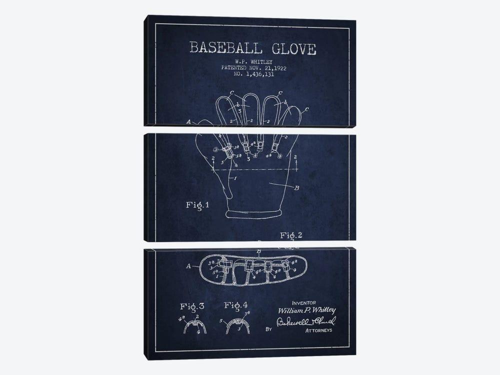 Baseball Glove Navy Blue Patent Blueprint by Aged Pixel 3-piece Canvas Artwork