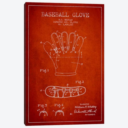 Baseball Glove Red Patent Blueprint Canvas Print #ADP2063} by Aged Pixel Canvas Wall Art