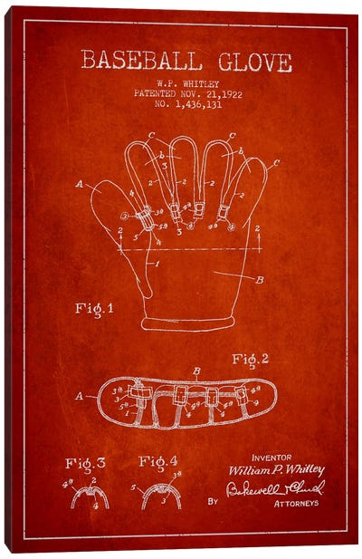 Baseball Glove Red Patent Blueprint Canvas Art Print