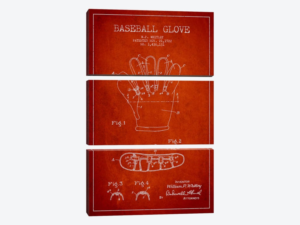 Baseball Glove Red Patent Blueprint by Aged Pixel 3-piece Canvas Print