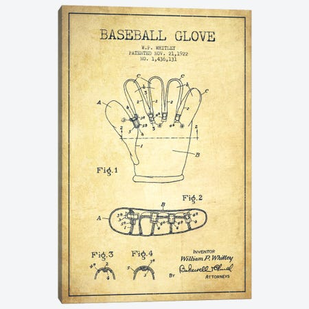 Baseball Glove Vintage Patent Blueprint Canvas Print #ADP2064} by Aged Pixel Canvas Print