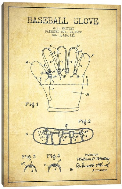 Baseball Glove Vintage Patent Blueprint Canvas Art Print