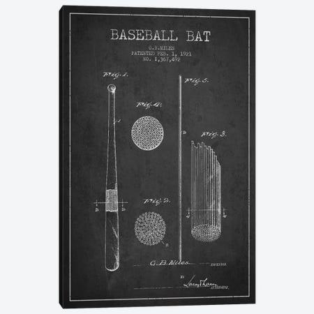 Baseball Bat Charcoal Patent Blueprint Canvas Print #ADP2065} by Aged Pixel Art Print
