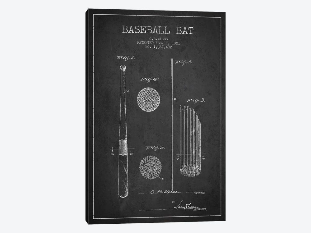Baseball Bat Charcoal Patent Blueprint by Aged Pixel 1-piece Art Print